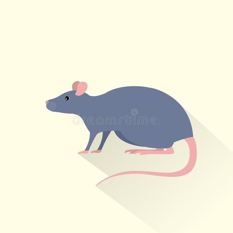Vecteur plat d'ombre d'icône grise de souris de rat illustration de vecteur