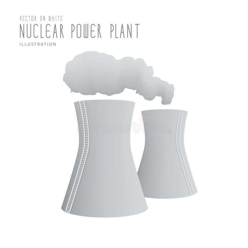 Vecteur plat de centrale nucléaire illustration libre de droits