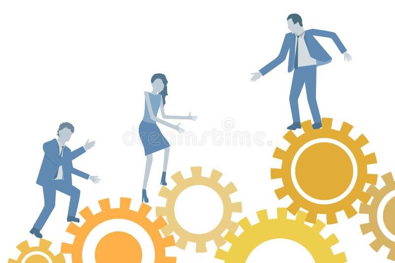 Vecteur plat de conception d'affaires conceptuelles de travail d'équipe avec un chef aidant ses collègues illustration stock