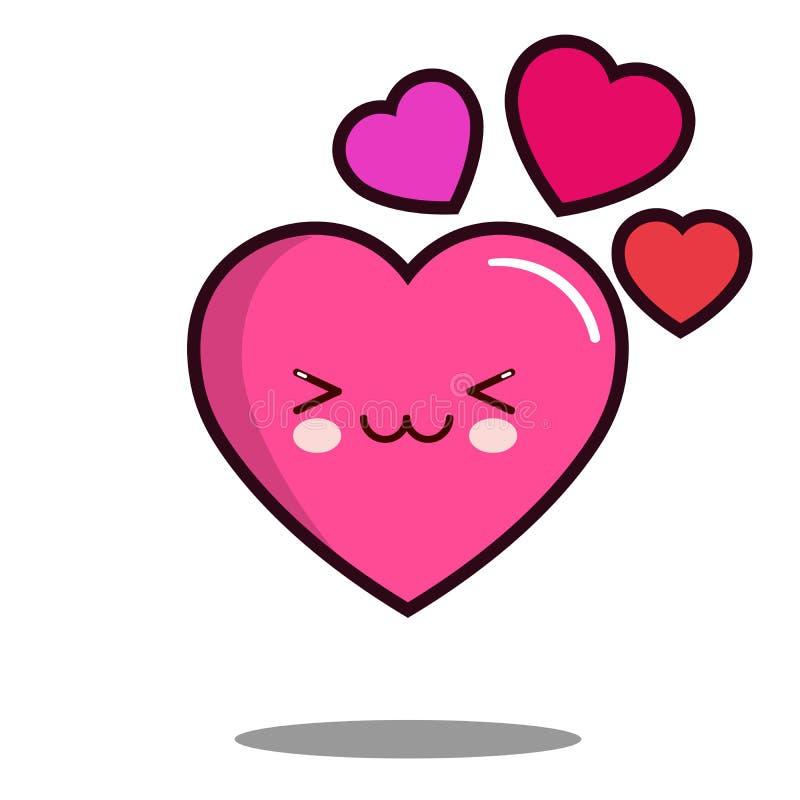 Vecteur plat de conception d'amour d'émoticône de coeur de personnage de dessin animé de kawaii mignon d'icône illustration libre de droits