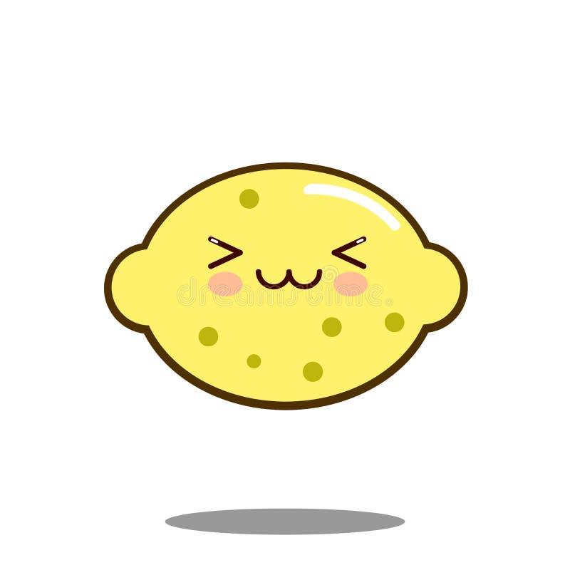 Vecteur plat de conception de citron de fruit de personnage de dessin animé de kawaii mignon d'icône illustration libre de droits