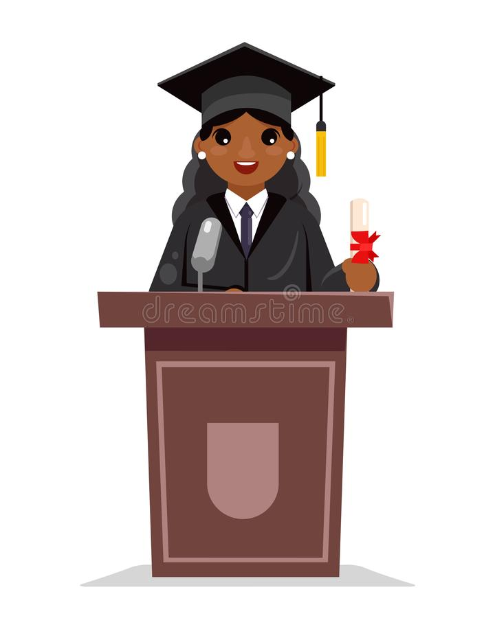 Vecteur plat de conception de diplômé d'éducation de femme d'obtention du diplôme de tribune de caractère africain solennel femel illustration stock