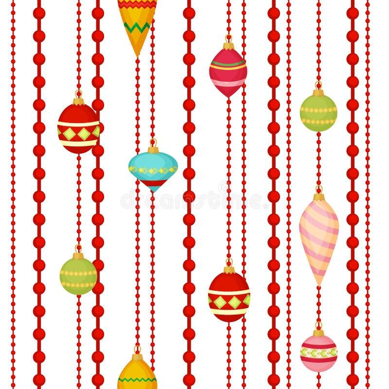Vecteur plat de conception de modèle de boule de Noël d'hiver de vacances de Noël de décoration de sphère de festival coloré sans illustration de vecteur