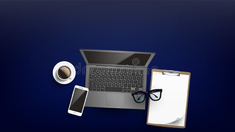 Vecteur plat de configuration de lieu de travail d'affaires de bureau illustration de vecteur