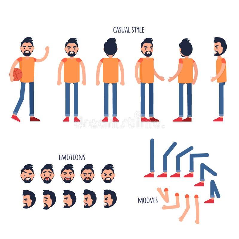 Vecteur plat de générateur de caractères d'homme illustration stock