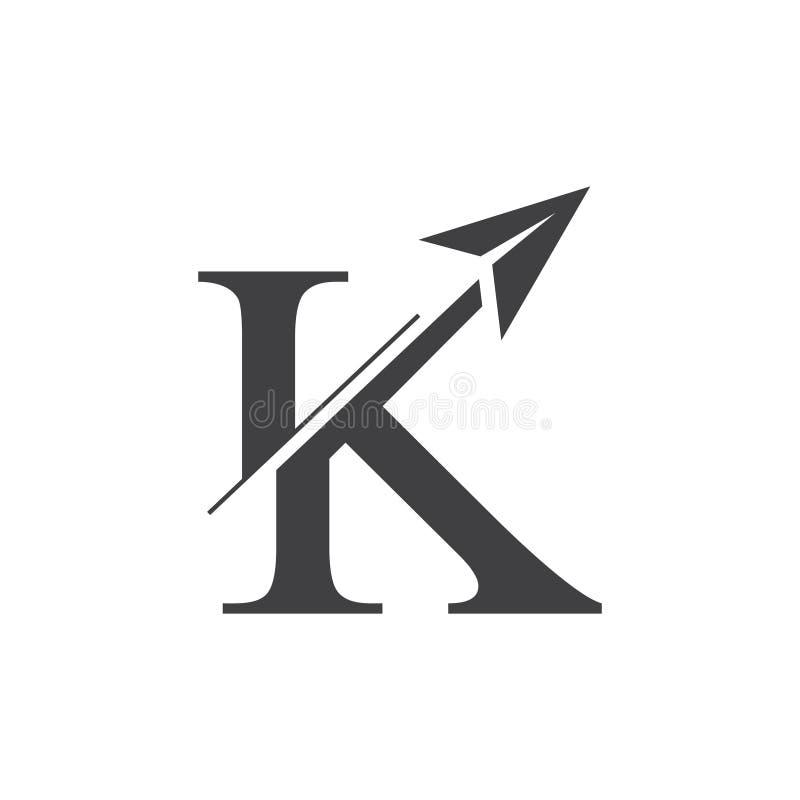 Vecteur plat de logo de mouvement de flèche de la lettre k illustration stock