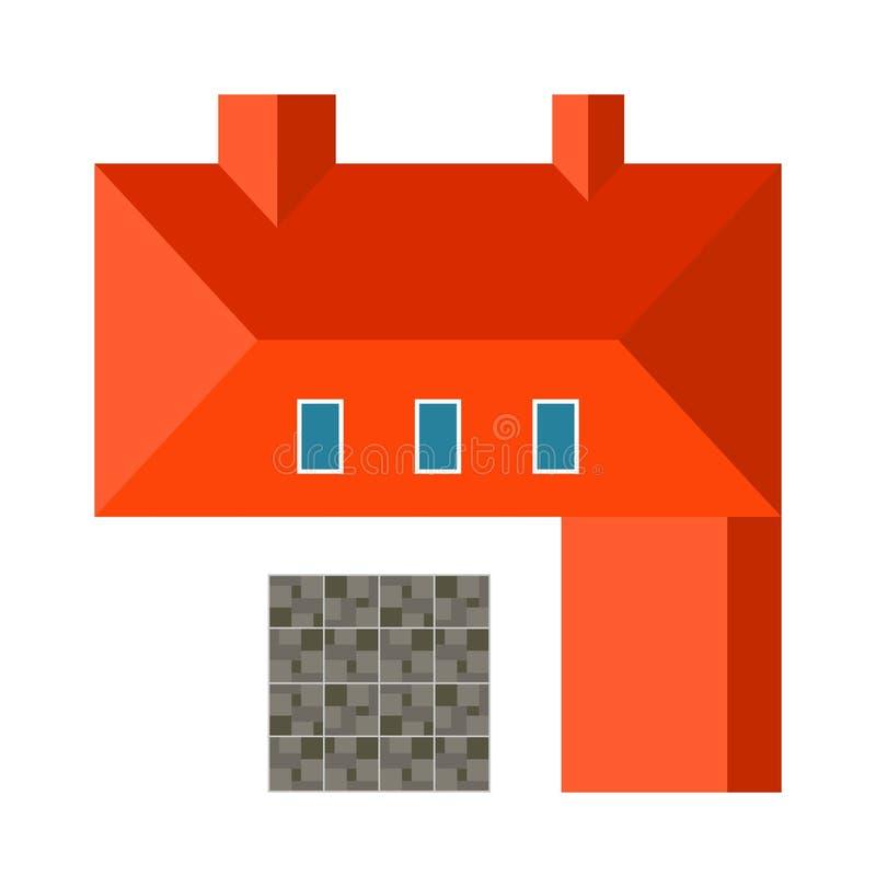 Vecteur plat de maison de vue supérieure de paysage de conception d'architecture d'éléments fortement détaillés de plan illustration libre de droits