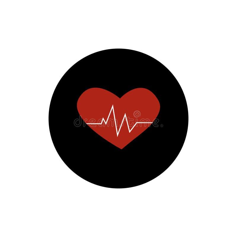 Vecteur plat de noir rond cardiaque d'icône d'impulsion de coeur illustration libre de droits