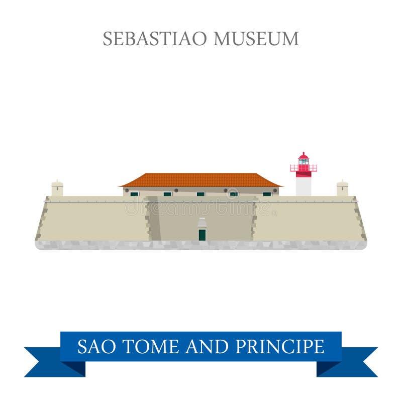 Vecteur plat de Sebastiao Museum Sao-Tomé-et-Principe illustration stock