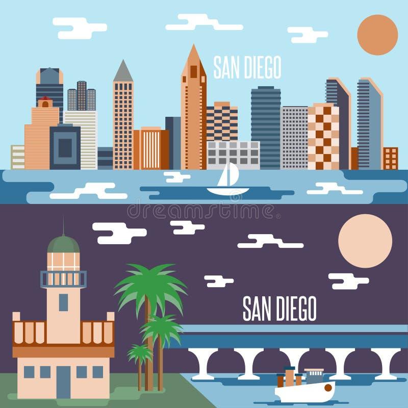 Vecteur plat horizontal de conception de points de repère de San Diego illustration de vecteur