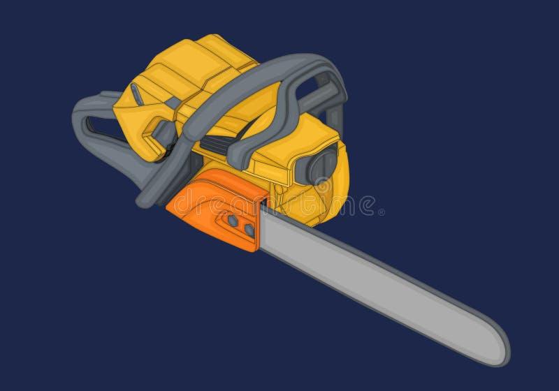 Vecteur plat isométrique 3d de tronçonneuse illustration de vecteur