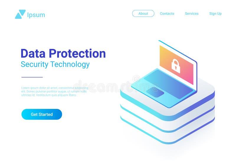 Vecteur plat isométrique de carnet d'ordinateur portable Protection illustration libre de droits