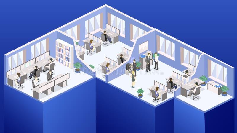 Vecteur plat isométrique de concept de Départements de l'intérieur de plancher de bureau du résumé 3d images libres de droits