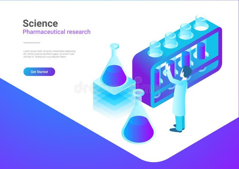 Vecteur plat isométrique de laboratoire de la Science Scientis illustration stock
