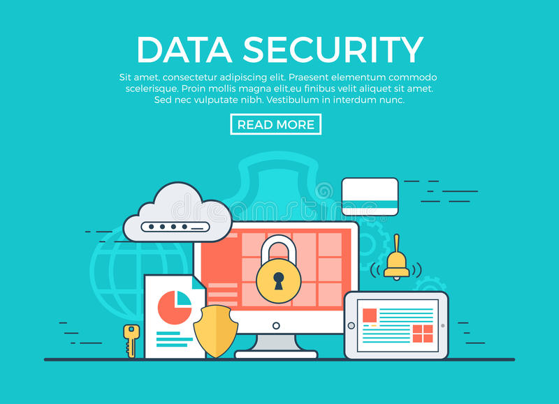 Vecteur plat linéaire d'infographics de protection des données app illustration de vecteur
