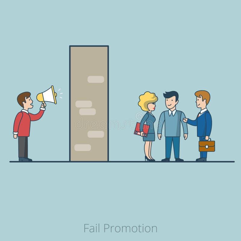Vecteur plat linéaire de haut-parleur de directeur de mur de client illustration de vecteur