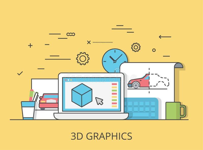 Vecteur plat linéaire de site Web de service des graphiques 3D illustration libre de droits