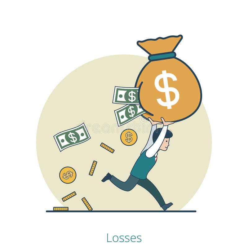 Vecteur plat linéaire i de sac d'argent d'homme d'affaires de pertes illustration de vecteur