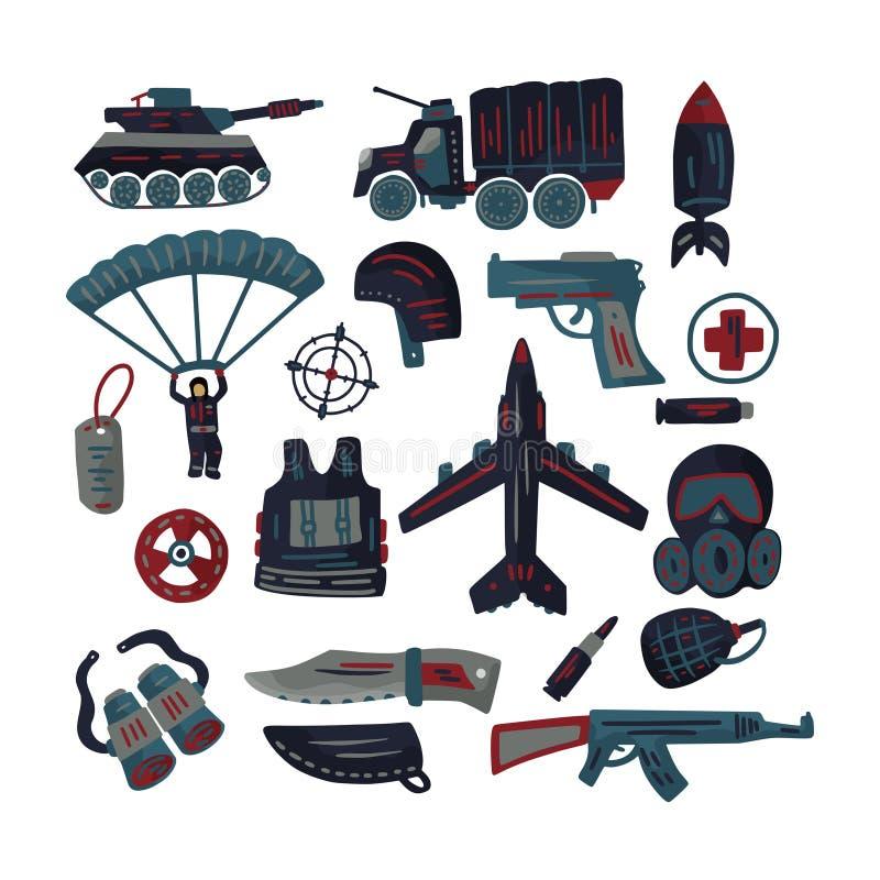 Vecteur plat militaire et d'armée d'icône réglé avec le réservoir, le parachute, le casque, le masque de gaz et d'autres munition illustration libre de droits