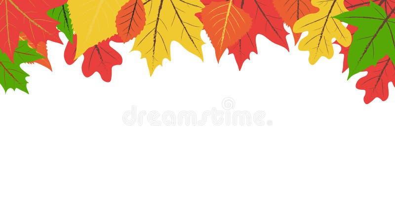 Vecteur plat simple de conception des feuilles d'automne colorées sur le fond blanc avec l'espace de copie photo stock