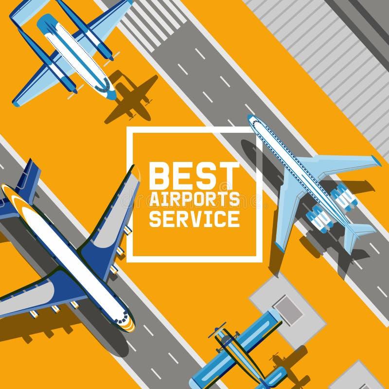 Vecteur plat voyageant sur le vol de transport de vol de jet d'avion d'avions à l'illustration langing de bande d'aéroport illustration stock