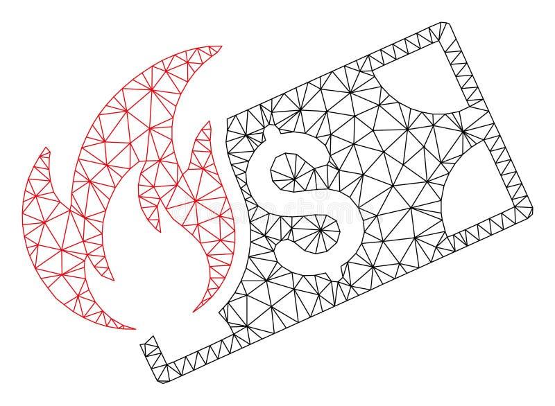 Vecteur polygonal Mesh Illustration de cadre de billet de banque du dollar de brûlure illustration stock