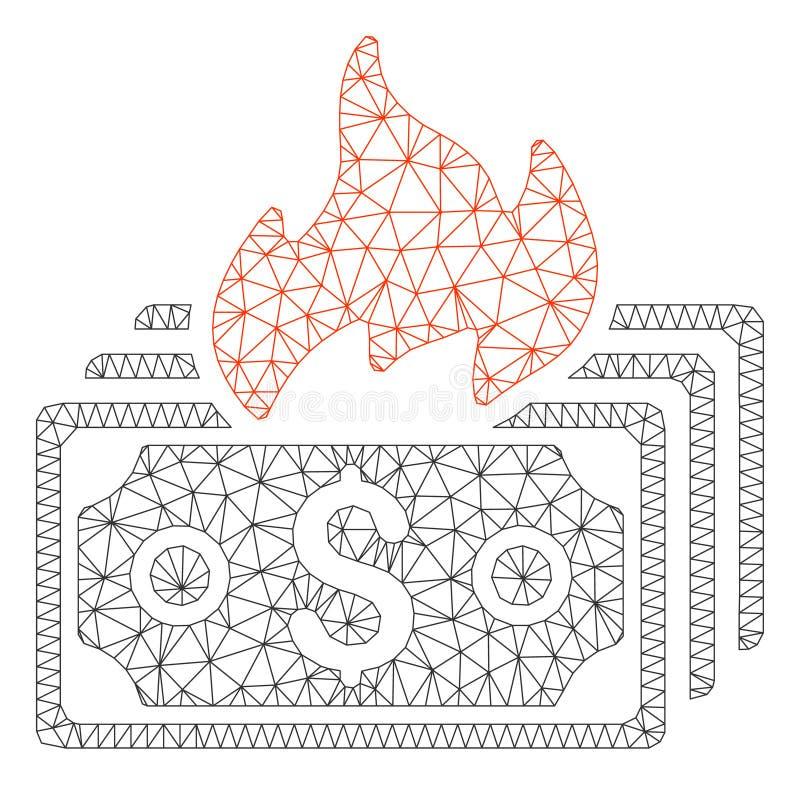 Vecteur polygonal Mesh Illustration de cadre de billets de banque de brûlure illustration libre de droits