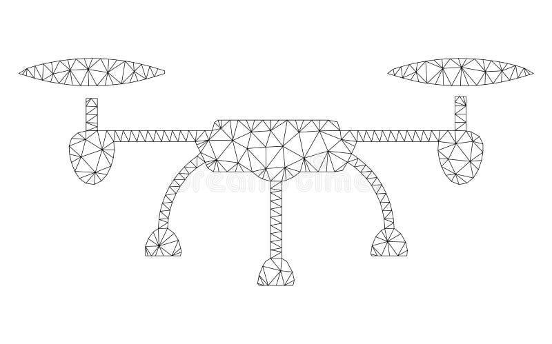 Vecteur polygonal Mesh Illustration de cadre de bourdon d'air illustration de vecteur