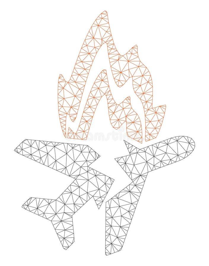 Vecteur polygonal Mesh Illustration de cadre de brûlure d'avion illustration stock