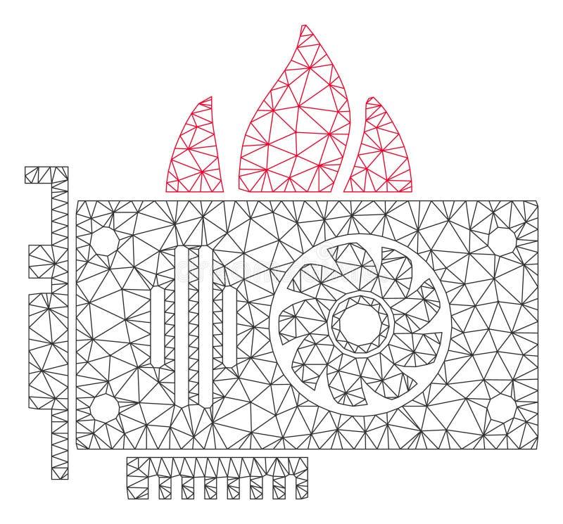 Vecteur polygonal Mesh Illustration de cadre de carte graphique visuelle de brûlure illustration stock
