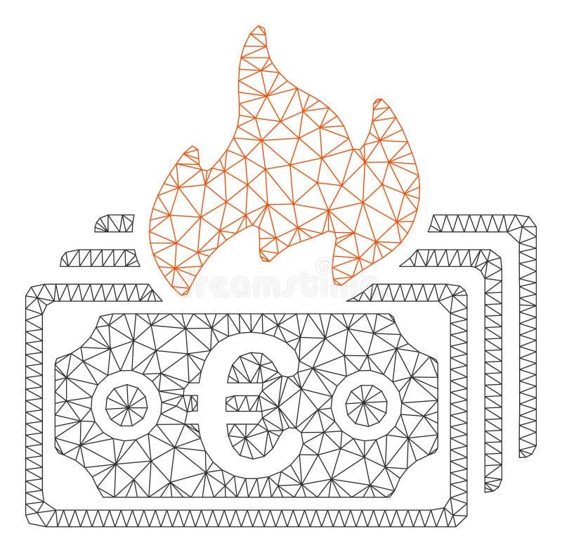 Vecteur polygonal Mesh Illustration de cadre d'euro billets de banque de brûlure illustration de vecteur
