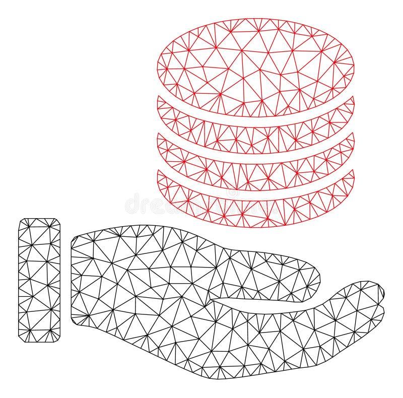 Vecteur polygonal Mesh Illustration de cadre de main de donation de pi?ces de monnaie illustration stock