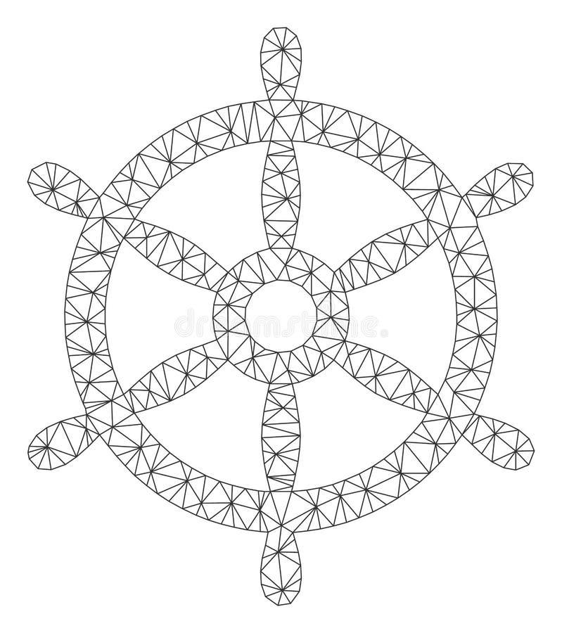 Vecteur polygonal Mesh Illustration de cadre de volant de bateau illustration libre de droits