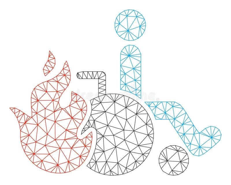 Vecteur polygonal patient Mesh Illustration de cadre de brûlure illustration de vecteur