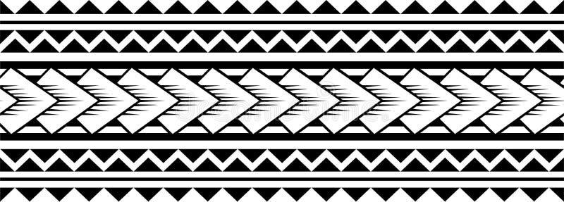 Vecteur polynésien de modèle de douille de tatouage, avant-bras samoan de croquis et conception de pied, tribal maori de tatouage illustration stock