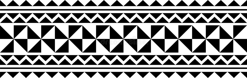 Vecteur polynésien de modèle de douille de tatouage, avant-bras samoan de croquis et conception de pied, tribal maori de tatouage illustration libre de droits
