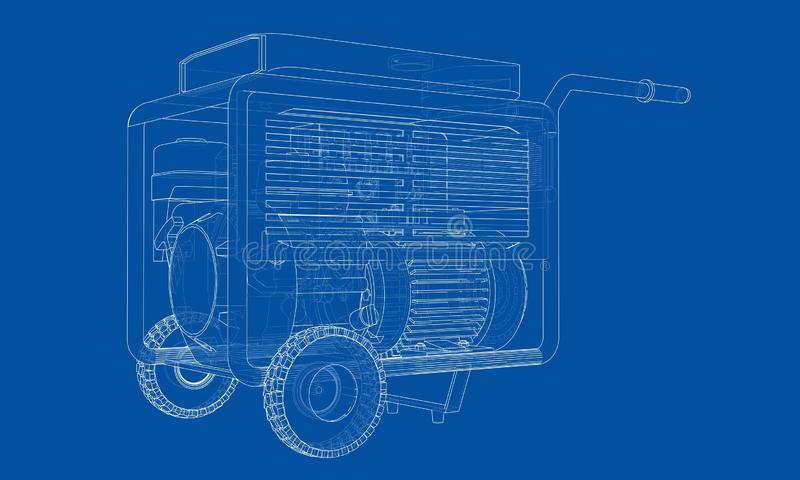 Vecteur portatif de générateur d'essence d'ensemble illustration de vecteur