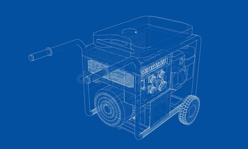 Vecteur portatif de générateur d'essence d'ensemble illustration libre de droits
