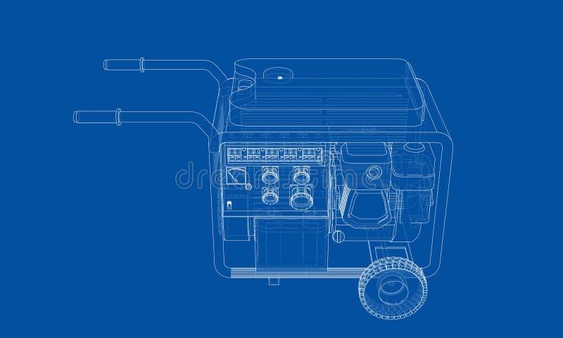 Vecteur portatif de générateur d'essence d'ensemble illustration stock