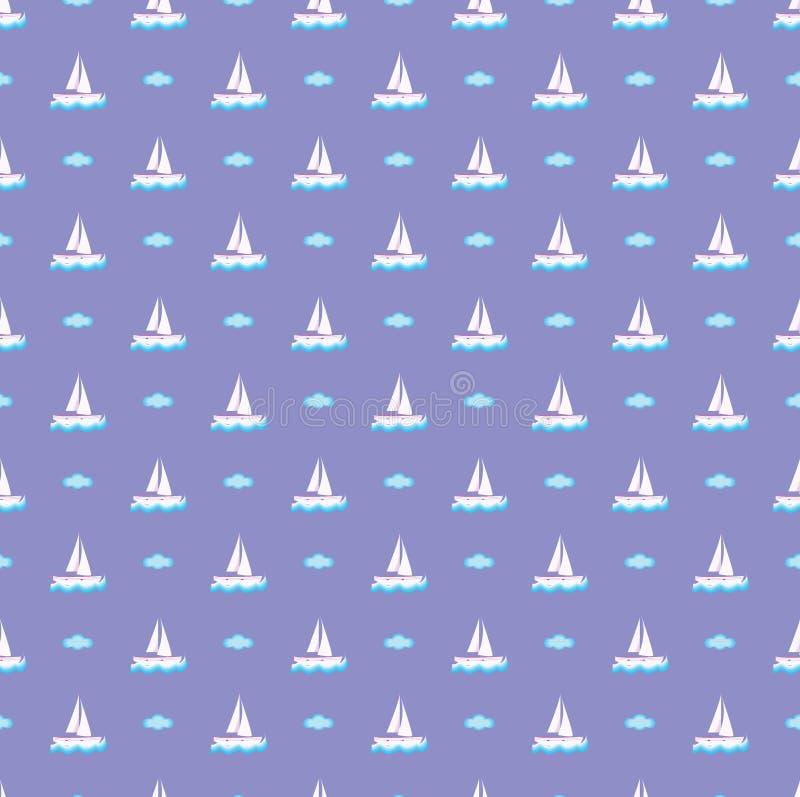 Vecteur pourpre, bateau et nuage de modèle de vacances image libre de droits