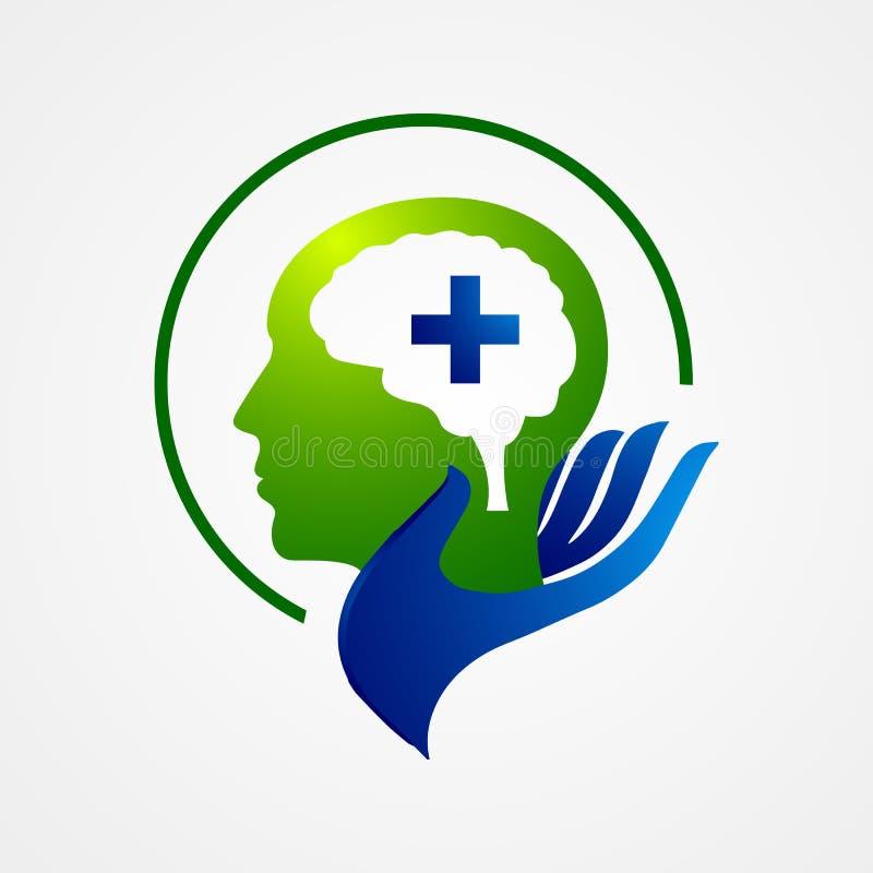 Vecteur principal de calibre de logo de santé Vecteur principal de concept de constructions de logo d'intelligence illustration de vecteur