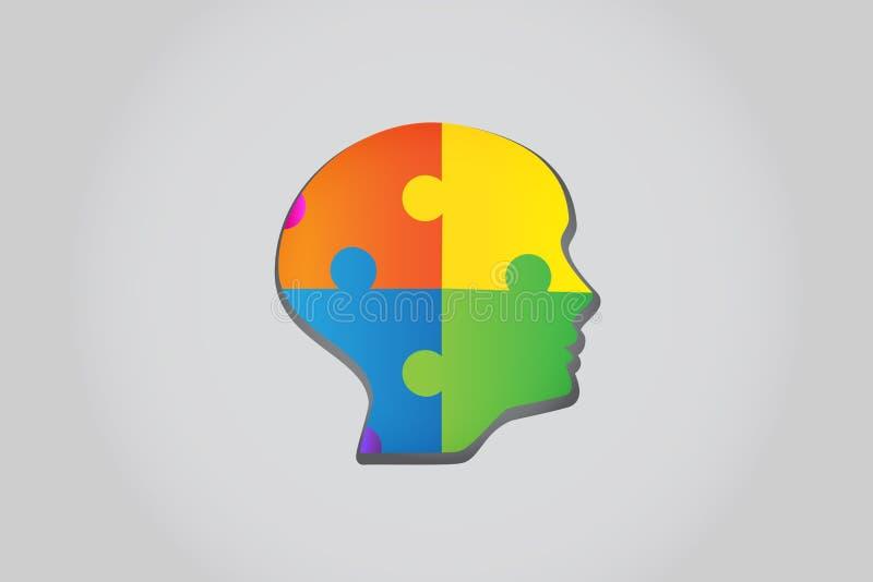Vecteur principal de logo de concept d'idées de puzzle illustration stock
