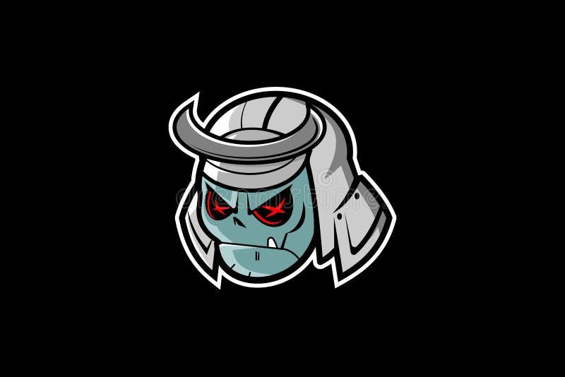 Vecteur principal de personnage de dessin animé de masque samouraï étonnant et unique de crâne illustration de vecteur