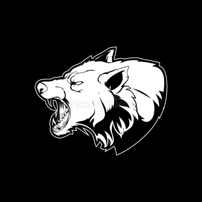 Vecteur principal stupéfiant de bande dessinée de loup agressif noir et blanc illustration stock