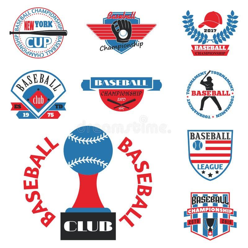 Vecteur professionnel de sport d'insigne de logo de base-ball de rouge bleu de champion graphique de concurrence de tournoi illustration de vecteur
