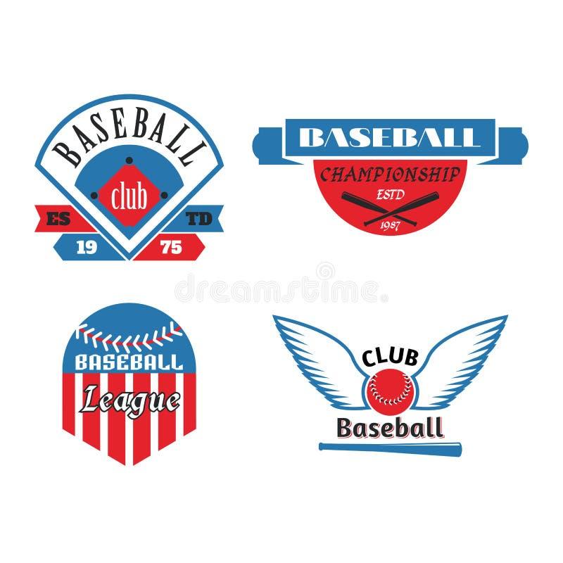 Vecteur professionnel de sport d'insigne de logo de base-ball de rouge bleu de champion graphique de concurrence de tournoi illustration stock