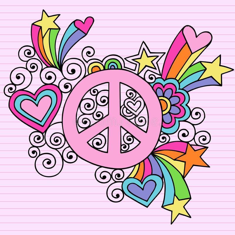 Vecteur psychédélique de griffonnage de cahier de signe de paix illustration de vecteur