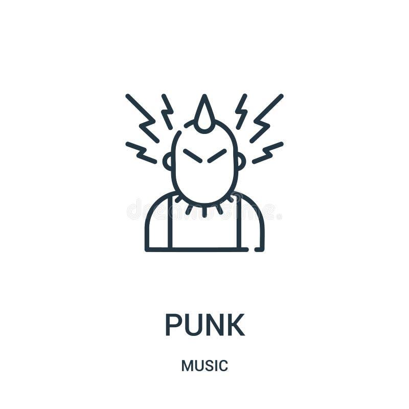 vecteur punk d'icône de collection de musique Ligne mince illustration punk de vecteur d'icône d'ensemble illustration libre de droits