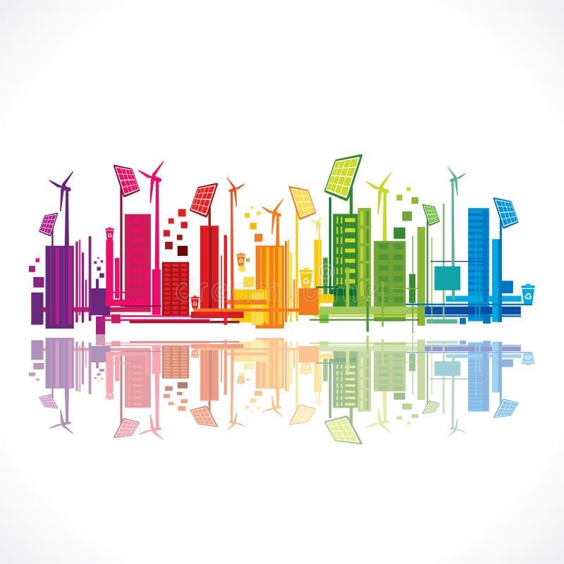 Vecteur qui respecte l'environnement créatif de conception de ville illustration de vecteur