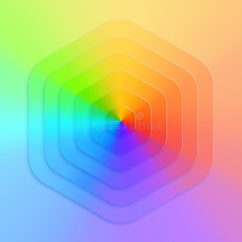 Vecteur réaliste abstrait, fond hexagonal d'arc-en-ciel de gradient illustration stock